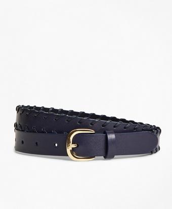 Leather Whip-Stitched Waist Belt