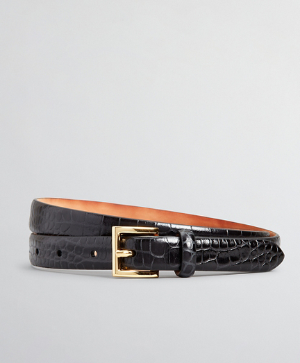 Crocodile-Embossed Leather Belt