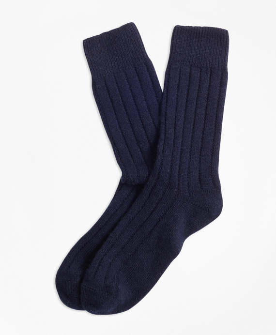 Rib-Knit Cashmere-Blend Socks Navy