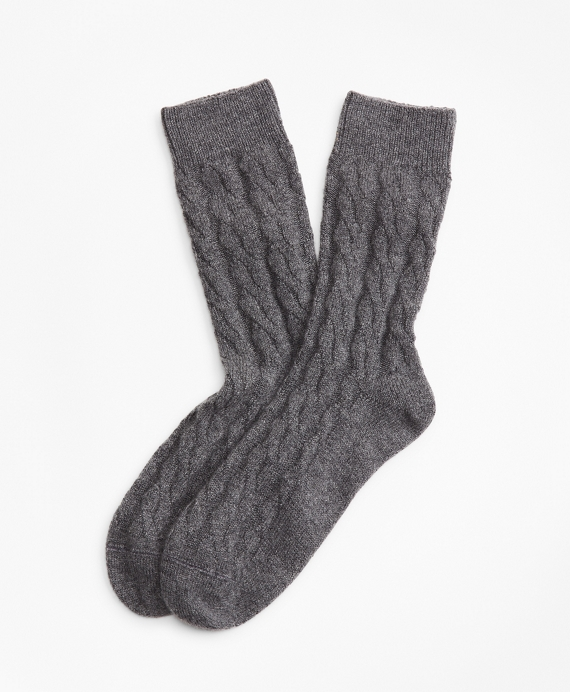 Cable-Knit Stretch Cashmere Socks Charcoal