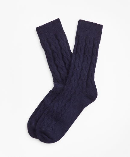 Cable-Knit Stretch Cashmere Socks