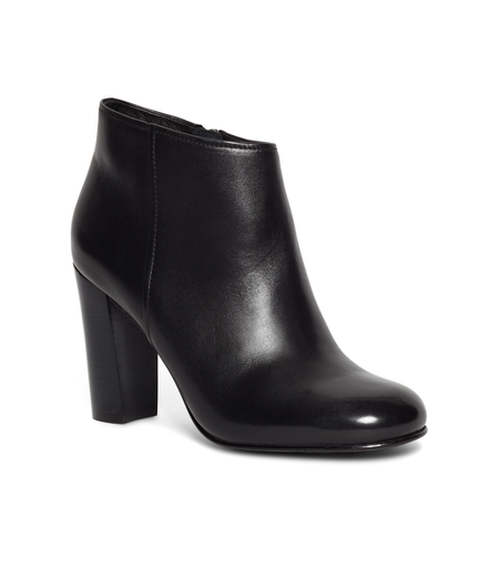 Short Leather Stacked Heel Booties