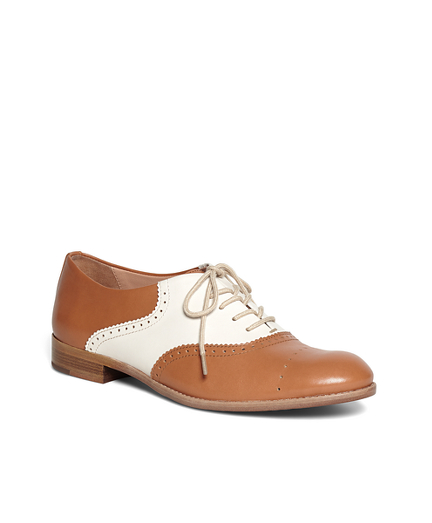 Leather Lace-Up Oxford Flats