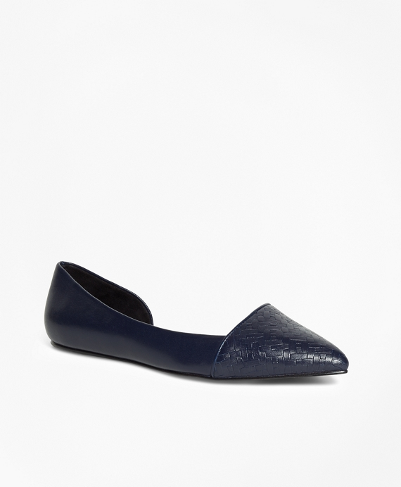 Woven Leather Flats Navy