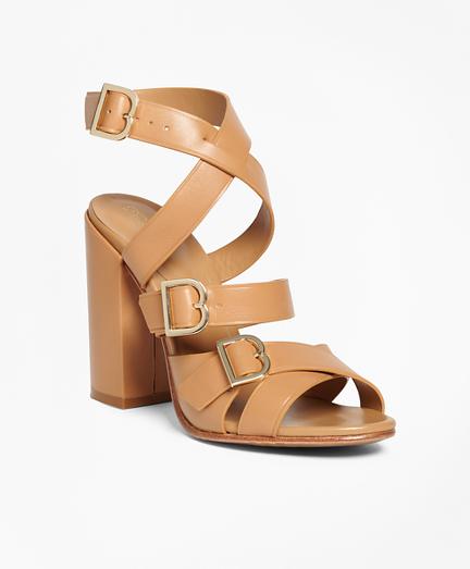 Multi Strap Stacked Heel Sandals