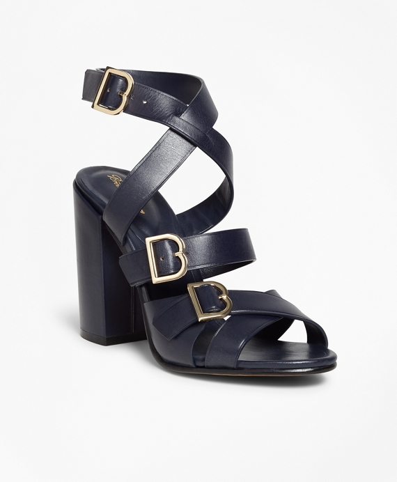 Multi Strap Stacked Heel Sandals Navy