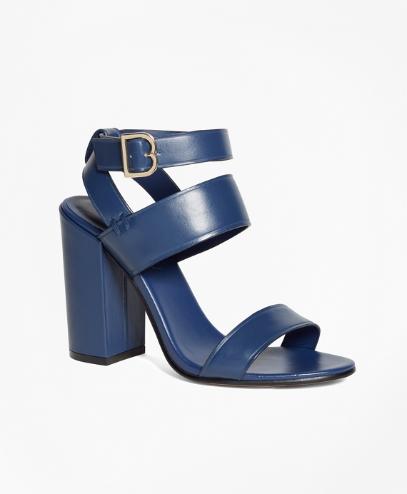 Tall Ankle-Strap Sandals Navy