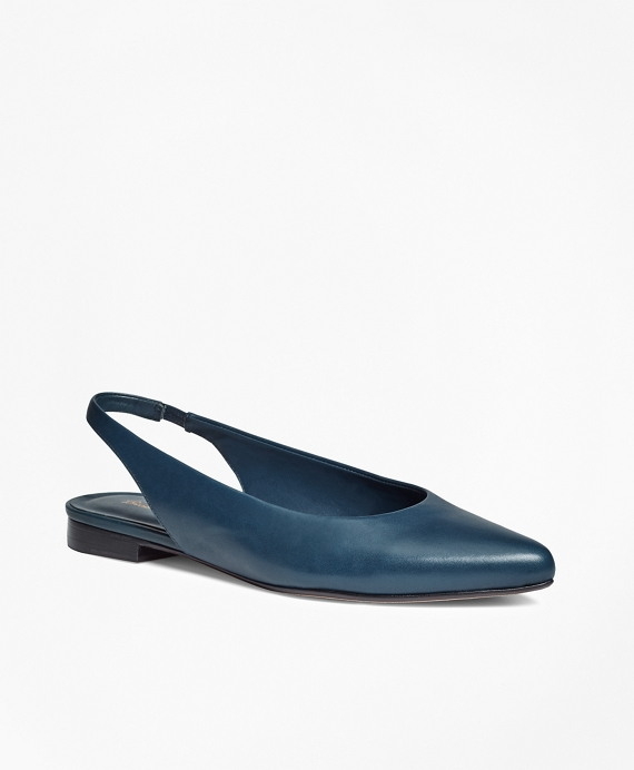 Leather Sling-Back Flats Blue