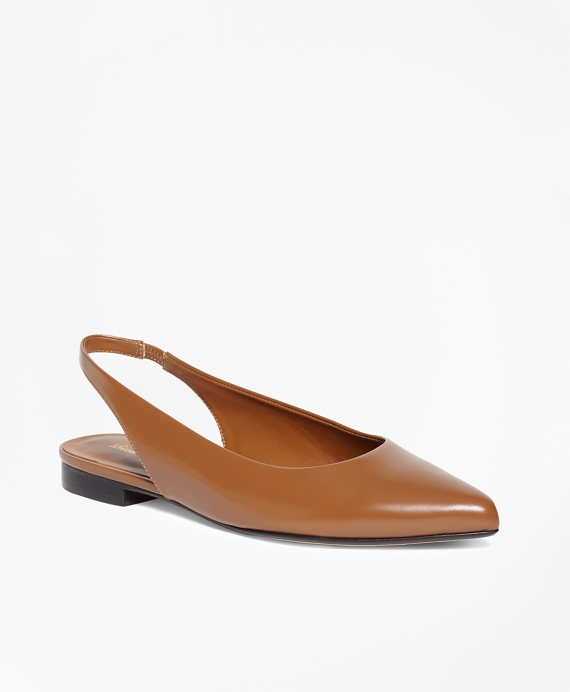Patent Leather Sling-Back Flats Light Brown