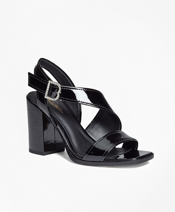 Patent Leather Open-Toe Stacked Sandals Black