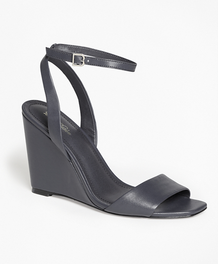 Leather Ankle-Strap Open-Toe Wedges