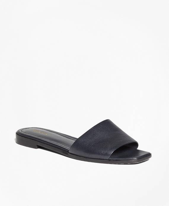 Leather Slide Sandals Navy