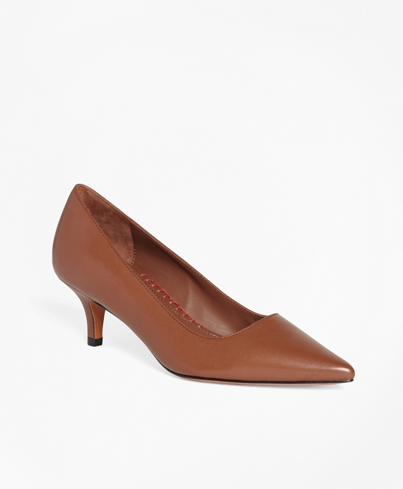 Leather Point-Toe Pumps Brown