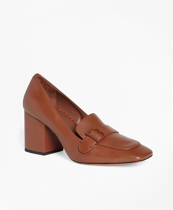 Leather Loafer Pumps Brown