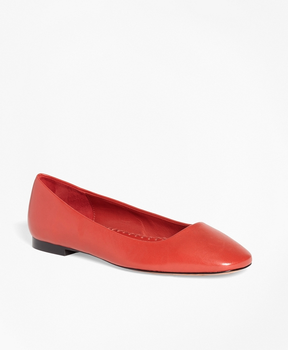 Leather Square-Toe Flats Red