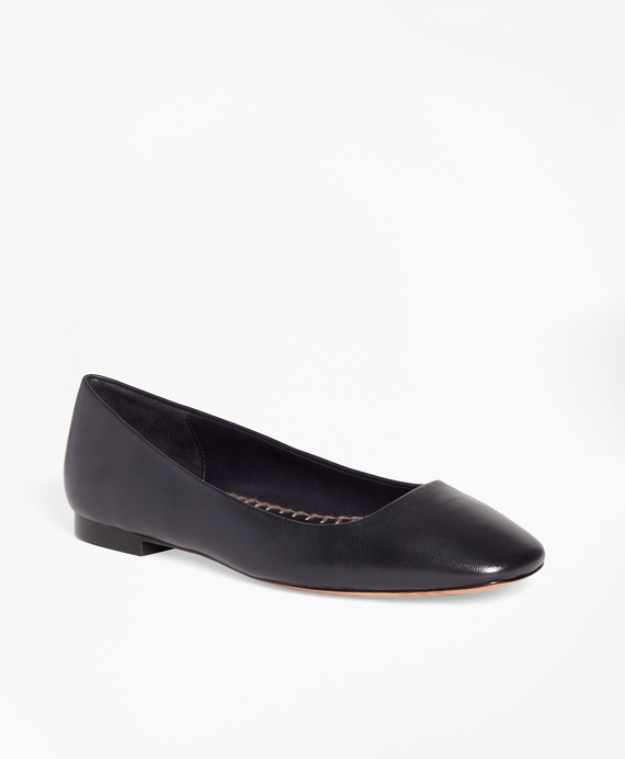 Leather Square Toe Flats by Brooks Brothers