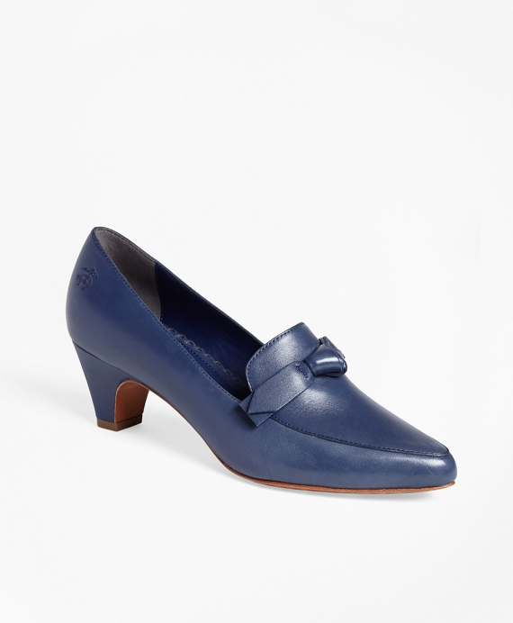 Point-Toe Leather Pumps Navy