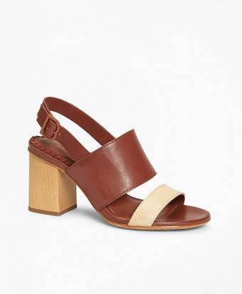 Two-Tone Leather Block-Heel Sandals