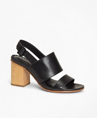 Leather Block-Heel Sandals