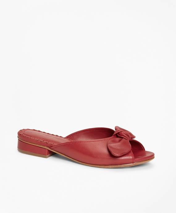 Leather Slide Sandals Red