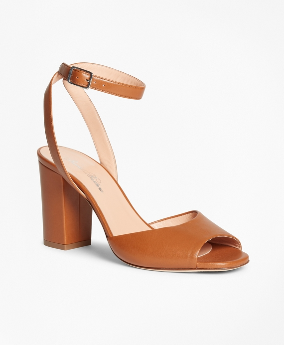 Leather Block-Heel Sandals Light Brown