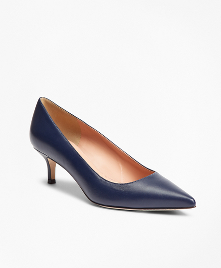 Leather Point-Toe Kitten-Heel Pumps