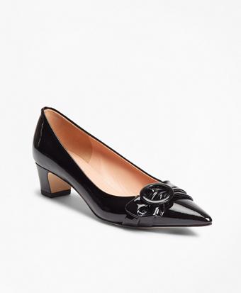 Patent Leather Point-Toe Kitten Heel Pumps