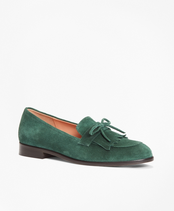 Suede Kiltie Loafers Evergreen
