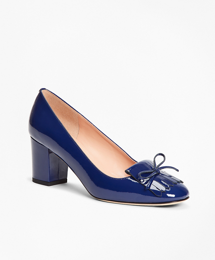 Patent Leather Kiltie Loafer Pumps