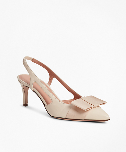Grosgrain-Trimmed Leather Slingback Kitten-Heel Pumps