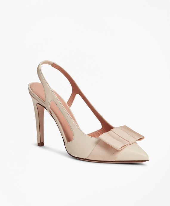 Grosgrain-Trimmed Leather Slingback Stiletto Pumps Ivory