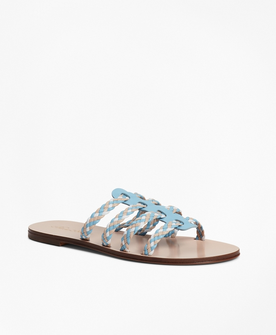 Braided Leather Slide Sandals Blue-Multi