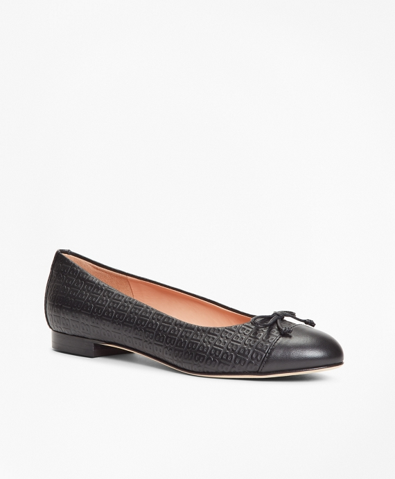 Logo-Embossed Leather Flats Black