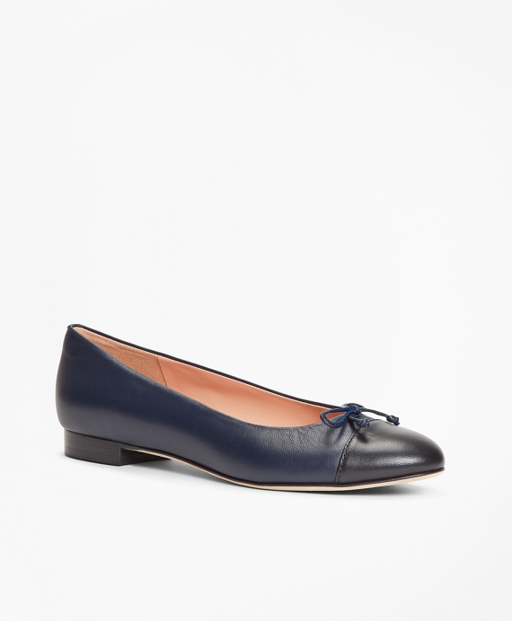 Color-block Leather Flats Navy-Black