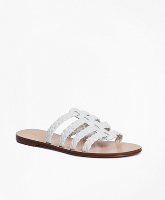 Braided Leather Slide Sandals