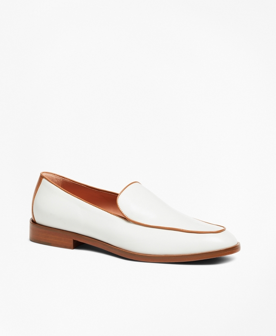 Leather Contrast-Trim Loafers White