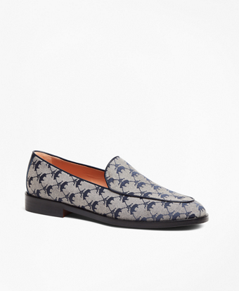 Leather-Trimmed Logo Jacquard Loafers