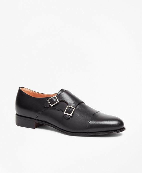 Leather Cap-Toe Monk Straps Black
