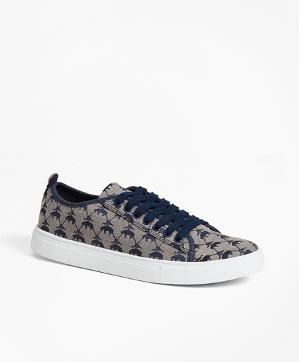 Leather-Trimmed Logo Jacquard Sneakers