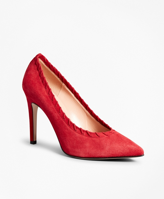 Suede Whip-Stitch Point-Toe Pumps Red