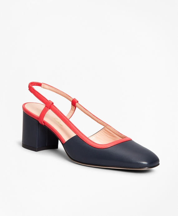 Two-Tone Leather Block-Heel Slingback Pumps Navy
