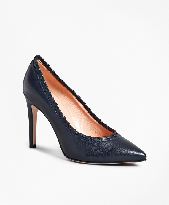 Leather Whipstitch Point-Toe Pumps Navy