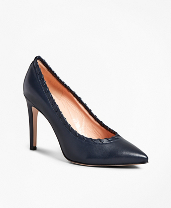 Leather Whipstitch Point-Toe Pumps