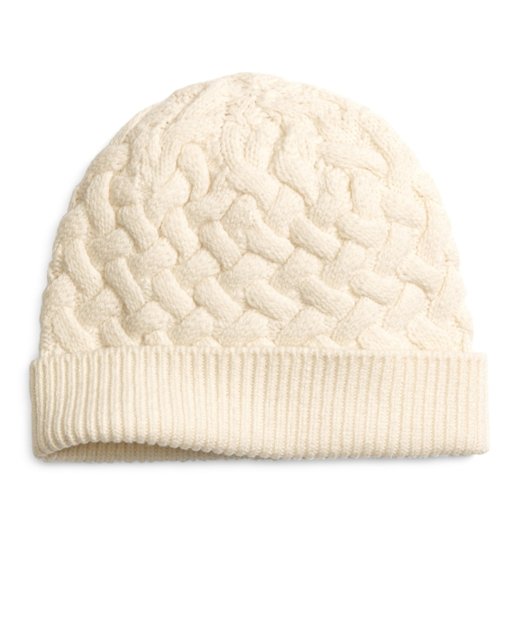 130edaed04b Women s Ivory Wool Cable Knit Winter Hat