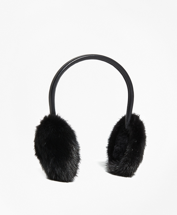 Leather Banded Mink Earmuffs by Brooks Brothers