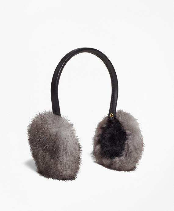 Leather Banded Mink Earmuffs Grey