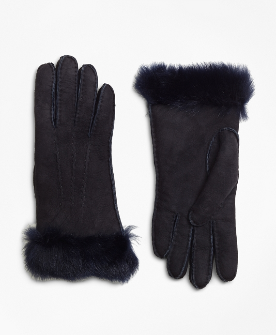 Shearling Gloves Navy