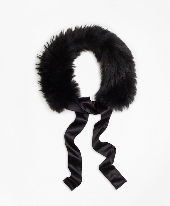 Raccoon Fur Collar with Silk Crepe Ribbon Tie Black
