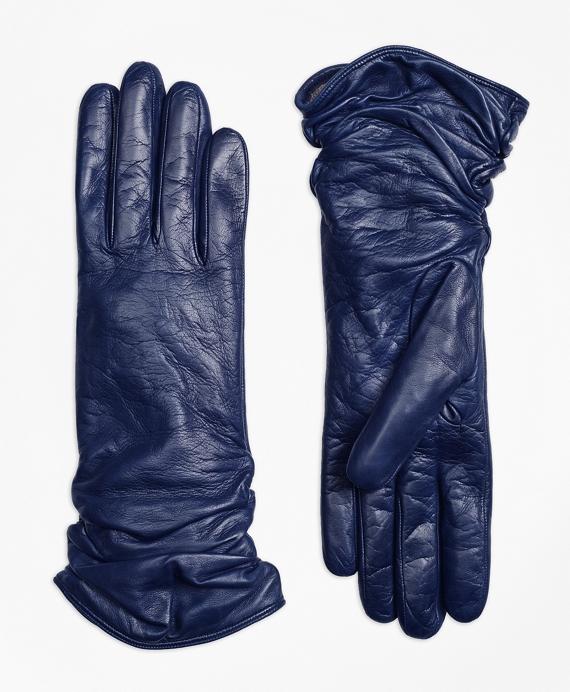Short Leather Opera Gloves Navy