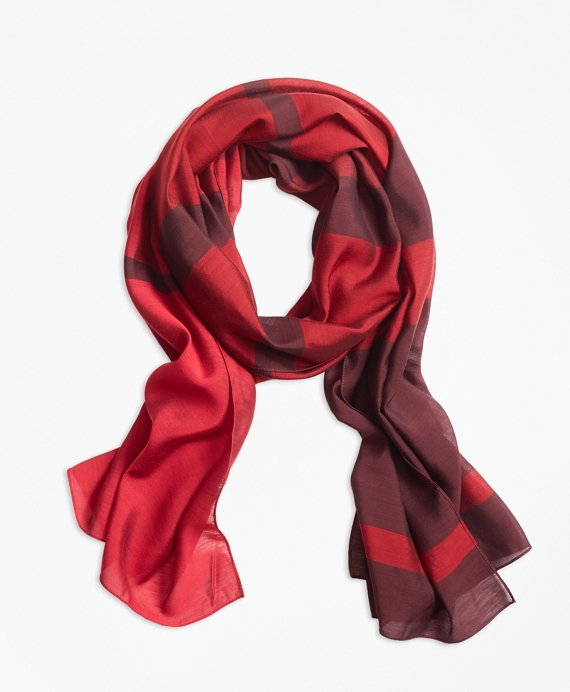 Striped Oblong Scarf Red-Multi